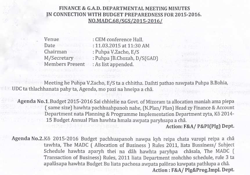 ... Departmental meeting minutes | MADC Siaha (MADC Saiha