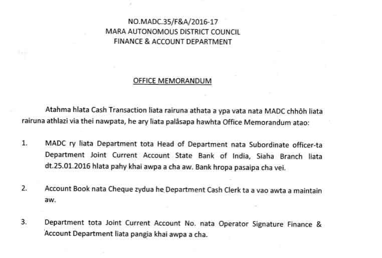 Office memorandum department joint current account sbi lia pahy awpa madc siaha madc saiha - Post office joint account ...